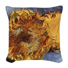 Van Gogh Two Cut Sunflowers Woven Throw Pillow