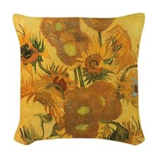 Van Gogh Vase w Sunflowers Woven Throw Pillow