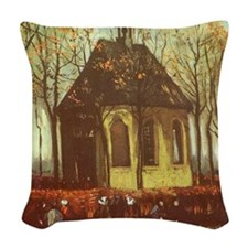 Van Gogh Chapel at Nuenen Woven Throw Pillow
