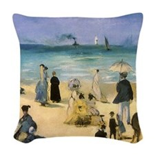 Manet, Beach at Boulogne Woven Throw Pillow