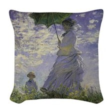 Claude Monet Woman w Parasol Woven Throw Pillow