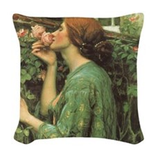 My Sweet Rose by JW Waterhouse Woven Throw Pillow