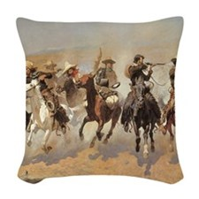 A Dash For Timber by Remington Woven Throw Pillow