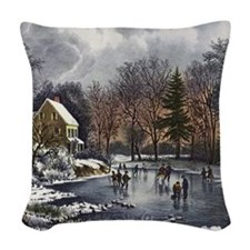 Early Winter Woven Throw Pillow