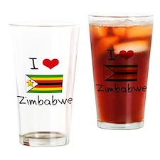 I HEART ZIMBABWE FLAG Drinking Glass