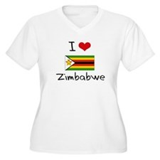 I HEART ZIMBABWE FLAG Plus Size T-Shirt