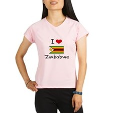 I HEART ZIMBABWE FLAG Peformance Dry T-Shirt