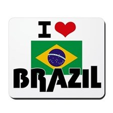 I HEART BRAZIL FLAG Mousepad