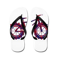 fat tire logo blue and red fire Flip Flops