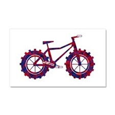 fat tire logo blue and red fire Car Magnet 20 x 12