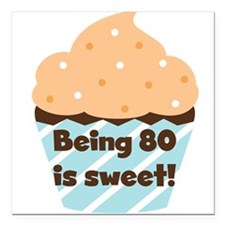 "Cupcake Sweet 80th Birthday Square Car Magnet 3"" x"