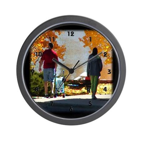 Early Autumn Stroll Wall Clock