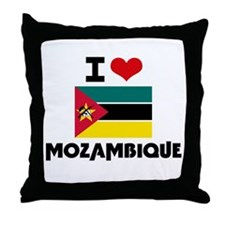 I HEART MOZAMBIQUE FLAG Throw Pillow
