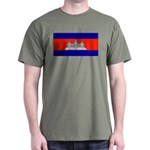 Cambodia Blank Flag Military Green T-Shirt