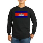 Cambodia Blank Flag Long Sleeve Black T-Shirt