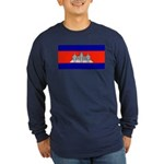 Cambodia Blank Flag Long Sleeve Blue T-Shirt