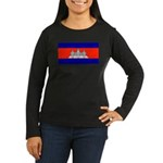 Cambodia Flag Women's Long Sleeve Brown T-Shirt