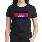 Cambodia Blank Flag Women's Black T-Shirt