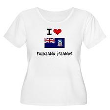 I HEART FALKLAND ISLANDS FLAG Plus Size T-Shirt