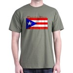 Puerto Rico Rican Flag Military Green T-Shirt