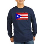 Puerto Rico Rican Flag Long Sleeve Blue T-Shirt