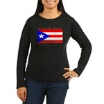 Puerto Rico Flag Women's Long Sleeve Black T-Shirt