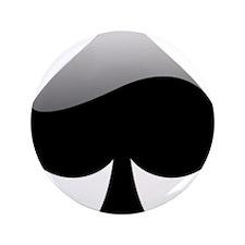"Black Spade Playing Card Symbol 3.5"" Button"