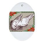 Nesting Pigeon Christmas Oval Ornament