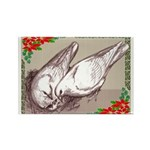 Nesting Pigeon Christmas Rectangle Magnet (100 pac