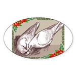 Nesting Pigeon Christmas Oval Sticker