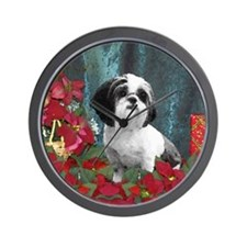 Shih Tzu Christmas China D Wall Clock