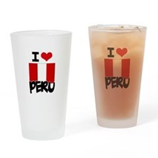 I HEART PERU FLAG Drinking Glass