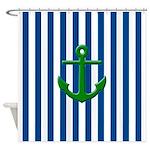 Green Anchor Blue Stripes Shower Curtain