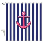 Pink Anchor And Blue Stripes Shower Curtain