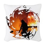 Firefighting Flames Throw Pillow