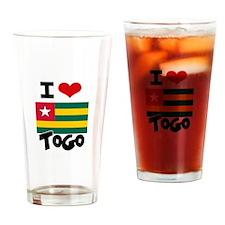 I HEART TOGO FLAG Drinking Glass