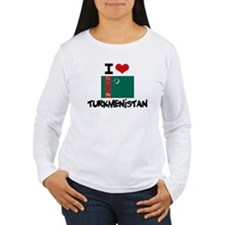 I HEART TURKMENISTAN FLAG Long Sleeve T-Shirt