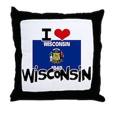 I HEART WISCONSIN FLAG Throw Pillow