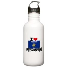 I HEART WISCONSIN FLAG Water Bottle