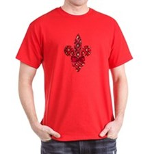Red Holiday Fleur de lis T-Shirt