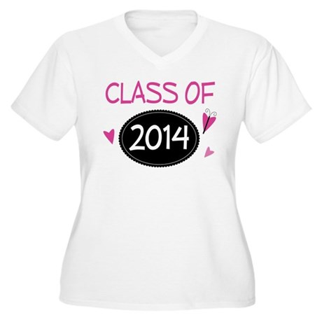 Class of 2014 (butterfly) Women's Plus Size V-Neck