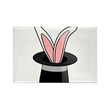 Rabbit In Magician Hat Rectangle Magnet
