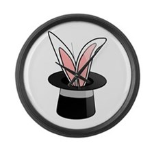Rabbit In Magician Hat Large Wall Clock