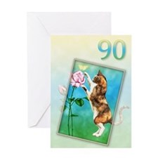 90th Birthday card with a cat Greeting Card