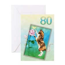 80th Birthday card with a cat Greeting Card