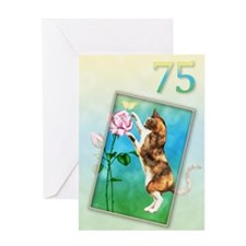 75th Birthday card with a cat Greeting Card