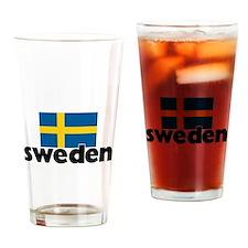 I HEART SWEDEN FLAG Drinking Glass