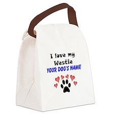 Custom I Love My Westie Canvas Lunch Bag