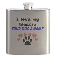 Custom I Love My Westie Flask
