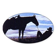 Cowboy Sunset Rectangle Decal